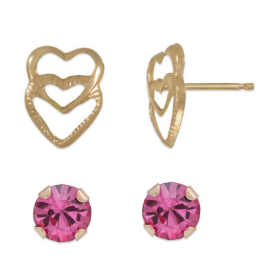 Pink Cubic Zirconia 14K Gold Earring Set