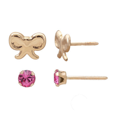 Children's 14K Gold 2-pc Pink Cubic Zirconia And Bow Stud Earring Set