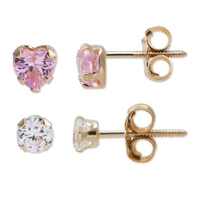 Multi Color Cubic Zirconia 14K Gold Earring Set