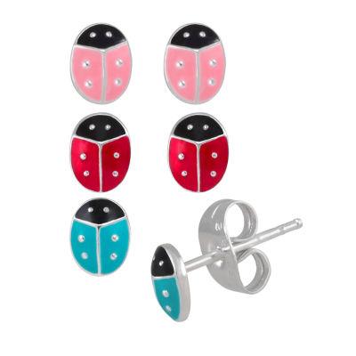 Sterling Silver Enamel Butterly Stud Earring Set