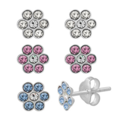 Sterling Silver Multi Color Crystal Earring Sets