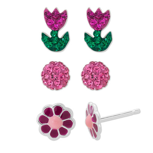 Children's Sterling Silver 3-pc Crystal Flowers And Ball Stud Earring Set