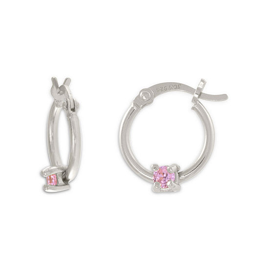Pink Cubic Zirconia Sterling Silver 14.6mm Hoop Earrings