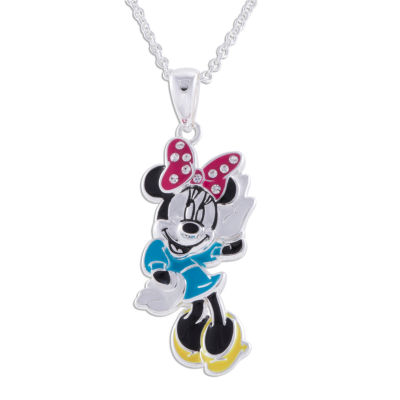 Disney Minnie Mouse Brass Enamel Pendant Necklace