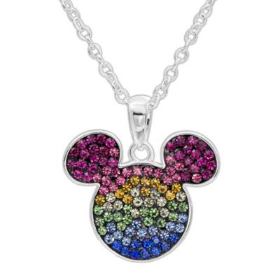Disney Sterling Silver Multi Color Crystal Mickey Head  Pendant Necklace