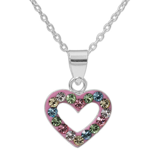 Sterling silver multi color crystal heart pendant necklace jcpenney sterling silver multi color crystal heart pendant necklace aloadofball Images