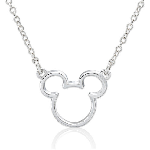 Disney Mickey Outline Sterling Silver Pendant Necklace