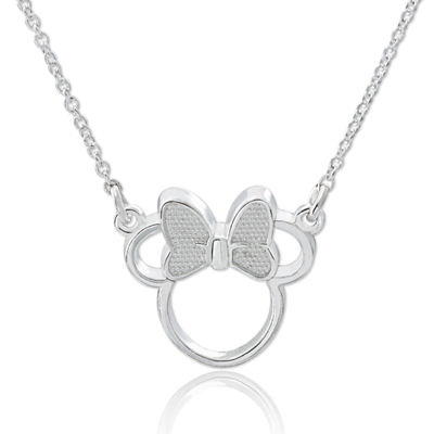 Disney Minnie Outline Sterling Silver Pendant Necklace