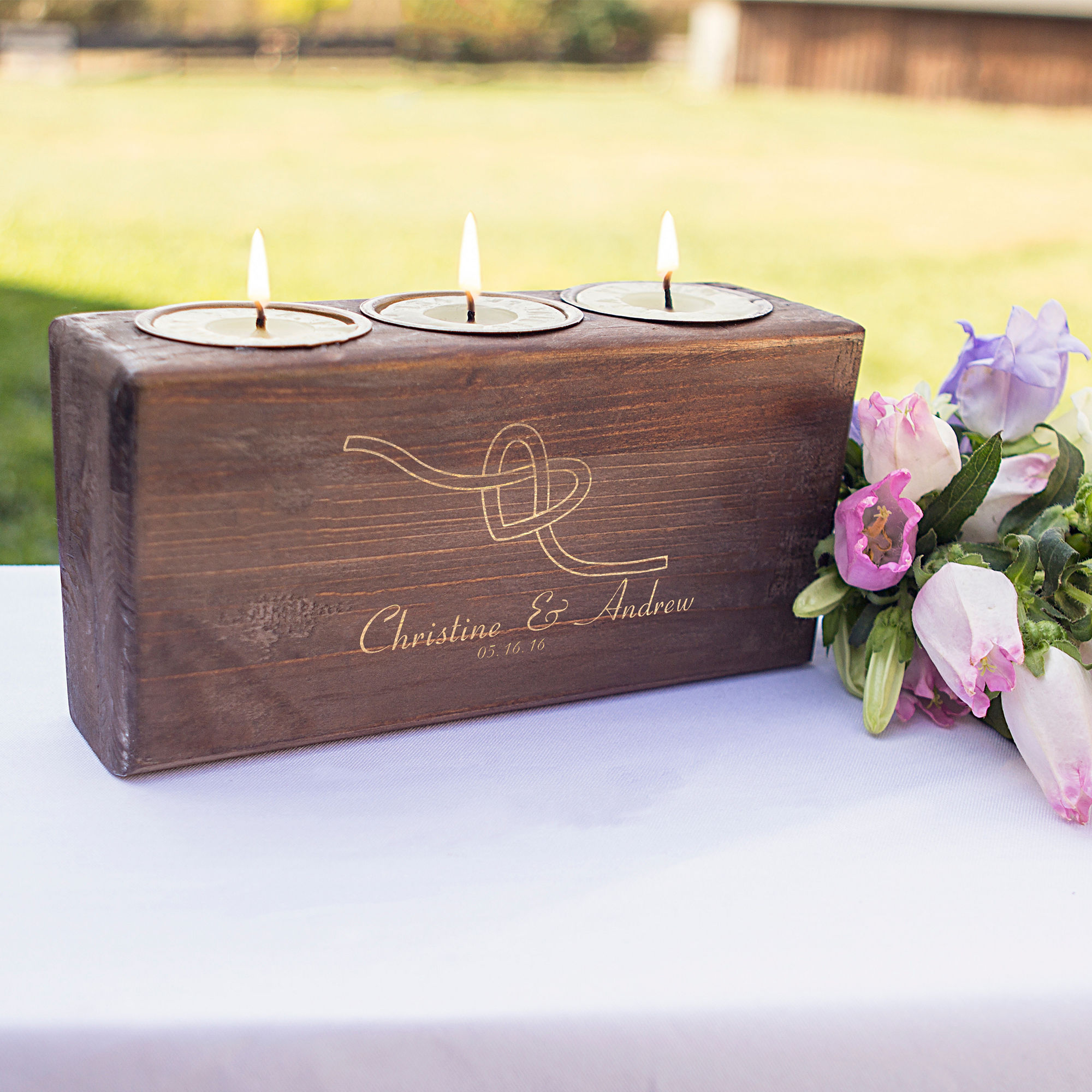 Personalized Tie the Knot Candle Holder