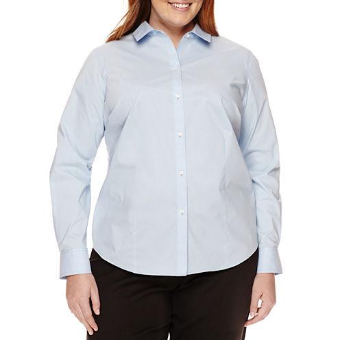 Liz Claiborne® Long Sleeve Wrinkle Free Shirt-Plus