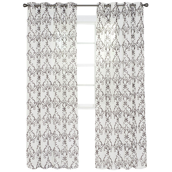 Cambridge Home Valencia Embroidered Grommet-Top Curtain Panel