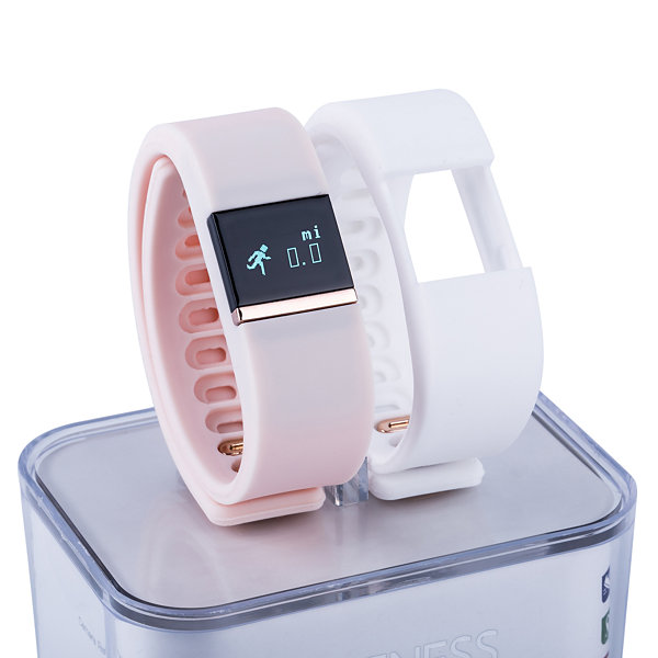 Ifitness Activity Tracker Rose Gold/Blush And White Interchangeable Band Unisex Multicolor Smart Watch-Ift2430bk668-694
