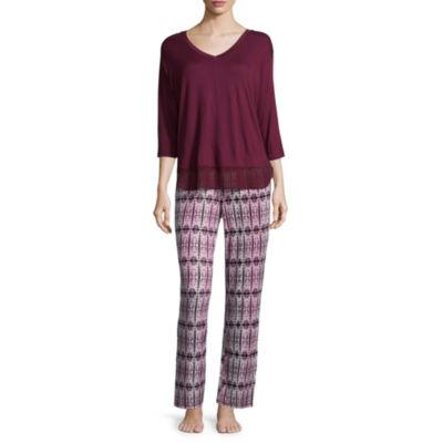 Ambrielle 3/4 Sleeve Chiffon Trim Top and Pant Pajama Set-Tall