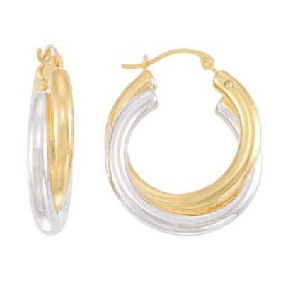 Gold Opulence Two Tone 14K Gold Over Diamond Resin Hoop Earrings