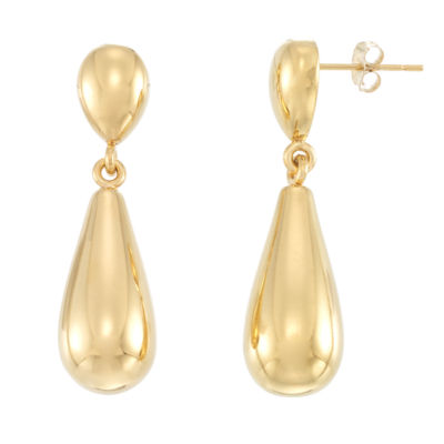 Gold Opulence 14K Gold Over Diamond Resin Drop Earrings