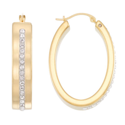 Gold Opulence White Crystal 14K Gold Over Diamond Resin Hoop Earrings