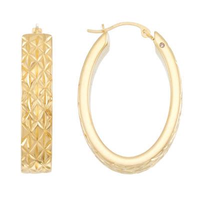 Gold Opulence 14K Gold Over Diamond Resin Hoop Earrings