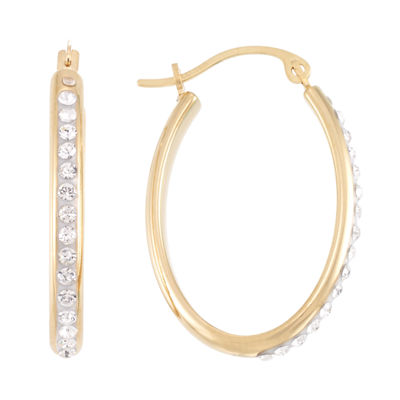 Gold Opulence Crystal 14K Gold Over Diamond Resin Hoop Earrings