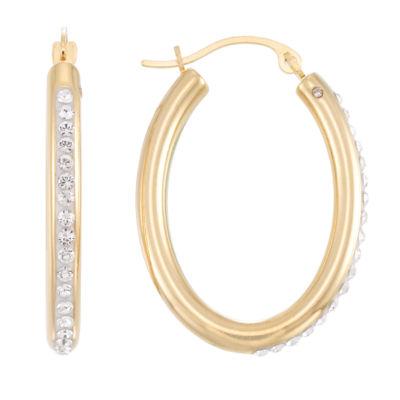 Gold Opulence White Crystal 14K Gold Over Diamond Resin Hoop Earrings