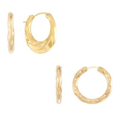 Gold Opulence 2 Pair 14K Gold Over Diamond Resin Earring Sets