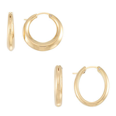 Gold Opulence 2 Pair 14K Gold Over Diamond Resin Earring Sets