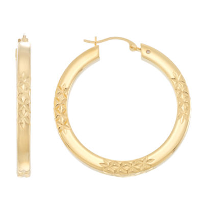 Gold Opulence 14K Gold Over Diamond Resin Hoop Earrings