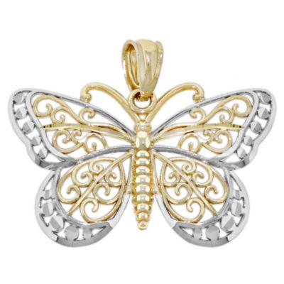 Womens 14K Gold Butterfly Pendant