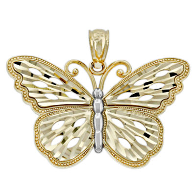 Womens 14K Gold Butterfly Pendant