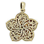 Womens 14K Gold Flower Pendant