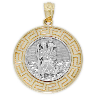 St. Christopher Mens 14K Gold Round Pendant