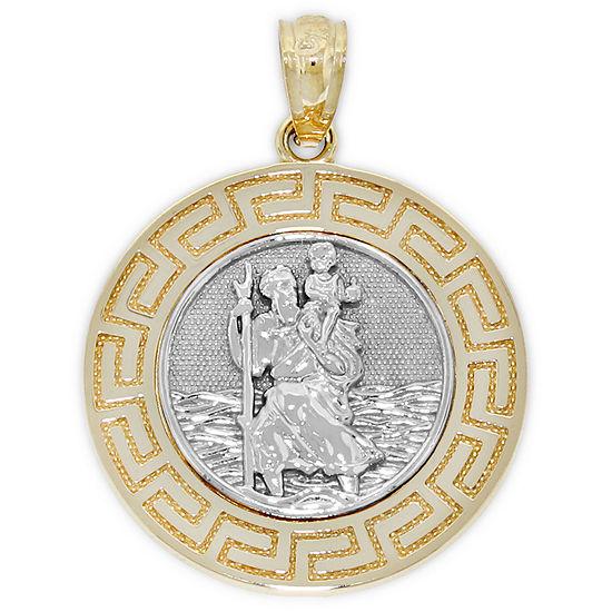 St. Christopher Mens 14K Gold Round Pendant