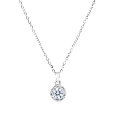 Womens 1 3/4 CT. T.W. Lab Created White Cubic Zirconia Sterling Silver Round Pendant Necklace