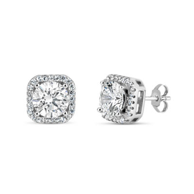 4 3/4 CT. T.W. Lab Created White Cubic Zirconia Sterling Silver 9.1mm Curved Stud Earrings