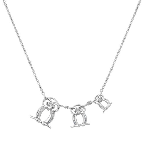 Diamonart Womens Cubic Zirconia Sterling Silver Owl Pendant Necklace