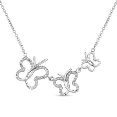 Diamonart Womens Cubic Zirconia Butterfly Sterling Silver Pendant Necklace