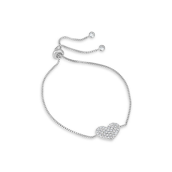 1 CT. T.W. Lab Created White Cubic Zirconia Sterling Silver Round Bolo Bracelet