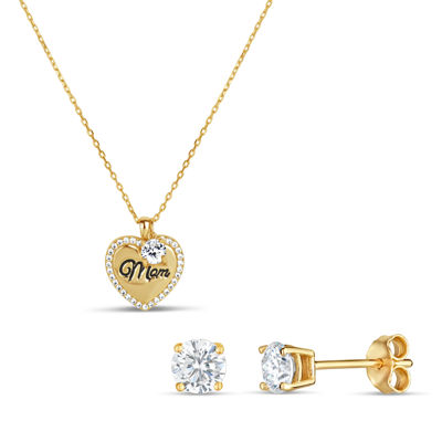 Womens 2-pack 2 CT. T.W. White Cubic Zirconia 18K Gold Over Silver Jewelry Set