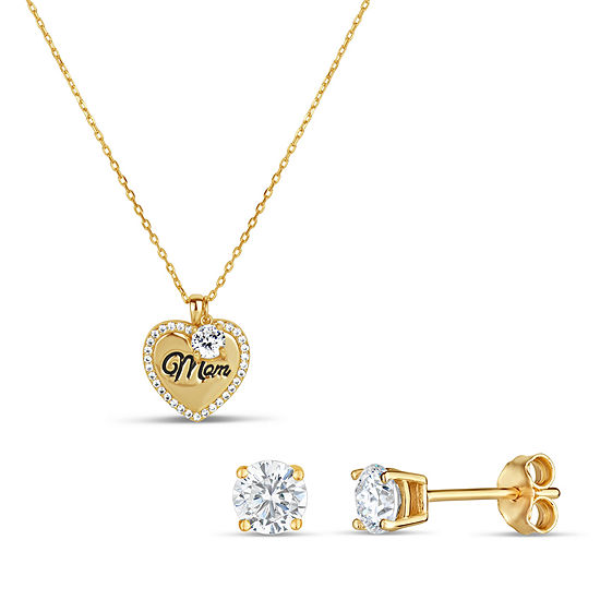 2 CT. T.W. Lab Created White Cubic Zirconia 18K Gold Over Silver Heart 2-pc. Jewelry Set