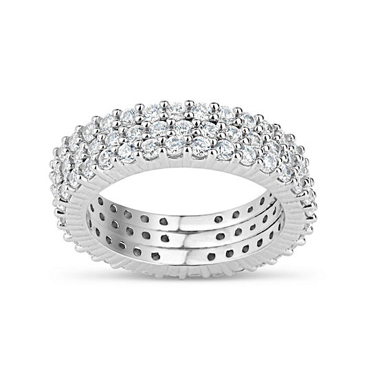 Womens 4 3 4 Ct Tw Lab Created White Cubic Zirconia Sterling Silver Round Eternity Stackable Ring