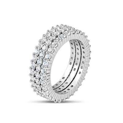 Womens 4 3/4 CT. T.W. Round White Cubic Zirconia Sterling Silver Eternity Band
