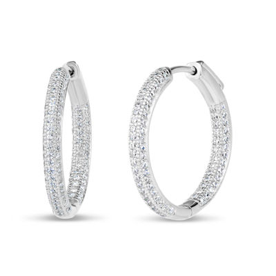 2 CT. T.W. Lab Created White Cubic Zirconia Sterling Silver 24.5mm Curved Hoop Earrings