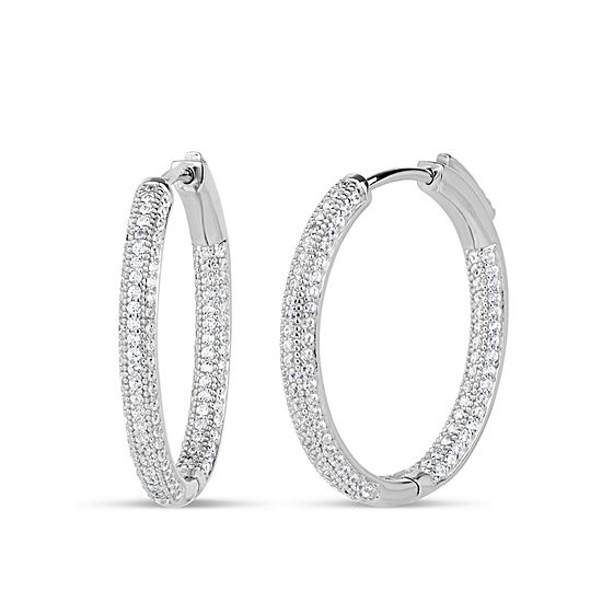 2 1/2 CT. T.W. Lab Created White Cubic Zirconia Sterling Silver 28mm Curved Hoop Earrings