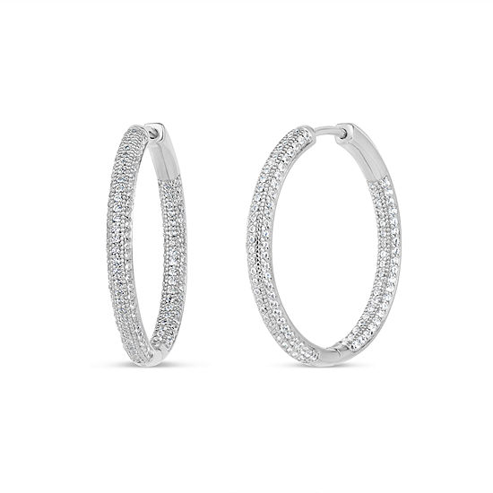 3 1/2 CT. T.W Lab Created White Cubic Zirconia Sterling Silver 30mm Curved Hoop Earrings