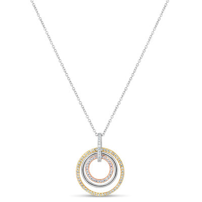 Womens 3/4 CT. T.W. Lab Created White Cubic Zirconia 18K Gold Over Silver Round Pendant Necklace