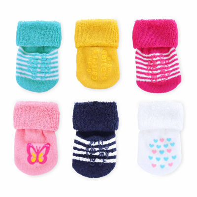 Carter's Multi Color 6 Pack Crew French Terry Socks - Baby