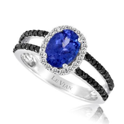 Grand Sample Sale™ by Le Vian® Blueberry Tanzanite® & 1/3 CT. T.W. Blackberry Diamonds® and Vanilla Diamonds® in 14k Vanilla Gold® Exotics® Ring