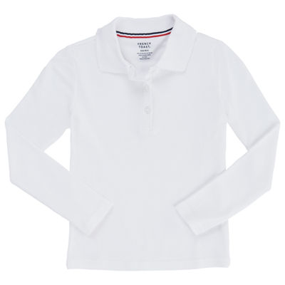 French Toast Girls Spread Collar Long Sleeve Stretch Polo Shirt Plus