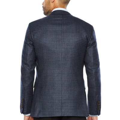 Stafford Merino Wool Sportcoat Blue Gray Red Windowpane - Classic