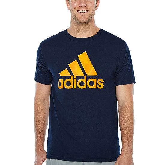 adidas Mens Crew Neck Short Sleeve Moisture Wicking T-Shirt-Athletic