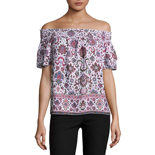 by&by Short Sleeve Boat Neck Dobby Floral Blouse-Juniors